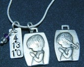 Reserved for opgm - Sterling Silver Praying Girl Pendant and Gemstone Necklace - Personalized Hand Stamped