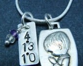 Reserved for opgm - Sterling Silver Praying Boy Pendant and Gemstone Necklace - Personalized Hand Stamped
