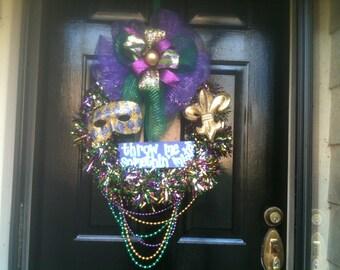 Throw Me Somethin Mister Mardi Gras wreath New Orleans