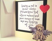 Dog sympathy card for dog death and loss of pet