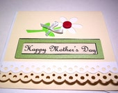 Mother's Day Card Happy Mothers Day Daisy with Button and Ribbon
