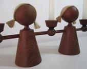 Vintage Wooden Doll Candelabra - Made in Germany