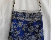 Blue oriental satin bag, beaded trim, cotton lining, corded strap