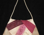 Crazy quilt, Recycled jeans,burgandy and tan crazy quilt bag. Corded strap, machine embroidery