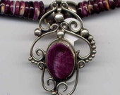 Necklace with Purple Spiny Oyster beads and Pendant