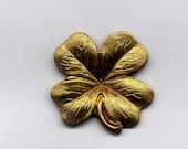 5 Shamrock Four Leaf Clover Brass Metal Stampings