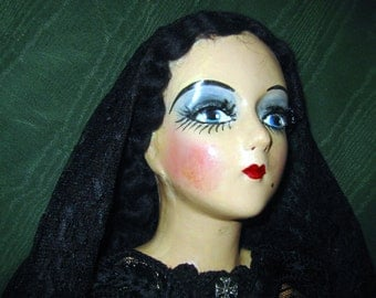 Dramatic Sterling Co Boudoir Doll in Black Lace