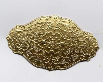 6 Solid with Filagree Design Backing- Brass Metal Stampings