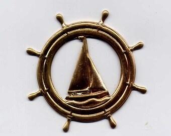 6 Ships Wheel Brass Metal Stampings