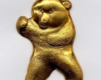 4 Large Bear Brass Metal Stampings