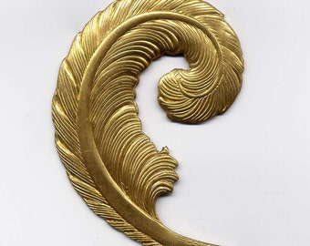 Large Curled Feather Brass Metal Stamping