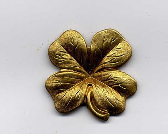 5 Four Leaf Clover Brass Metal Stampings