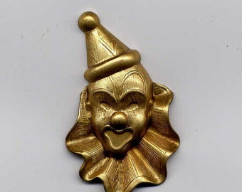 4 Clown Face Brass Metal Stampings