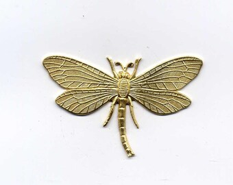 2 Solid Back Dragonfly Brass Metal Stampings