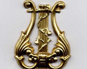 1  Harp Lyre Brass Metal Stampings