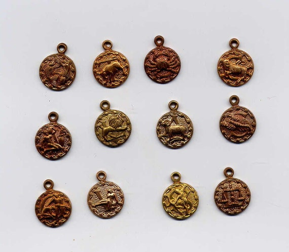 2 Sets of 12 Zodiac Charms Brass Metal Stampings