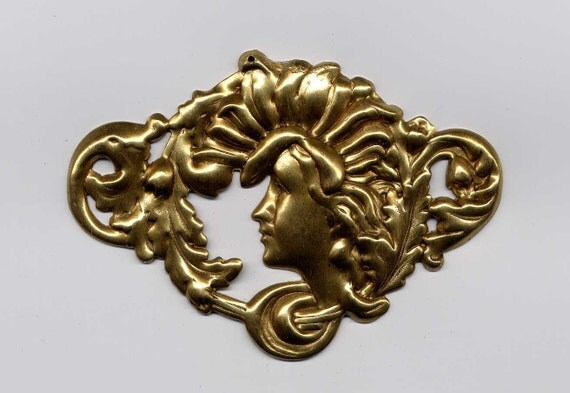 5 Art Nouveau Womans Head Brass Metal Stampings/reserved for Patti