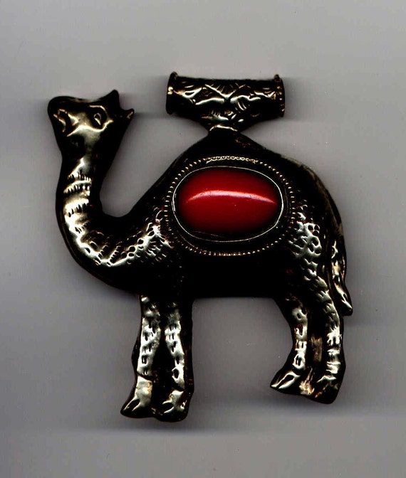 Tibet Camel Pendant with Red Coral Stone