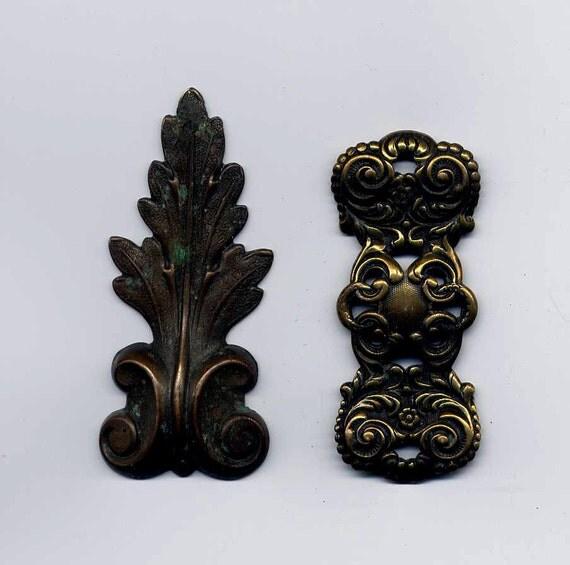 2 Oblong Vintage Brass Metal Stampings
