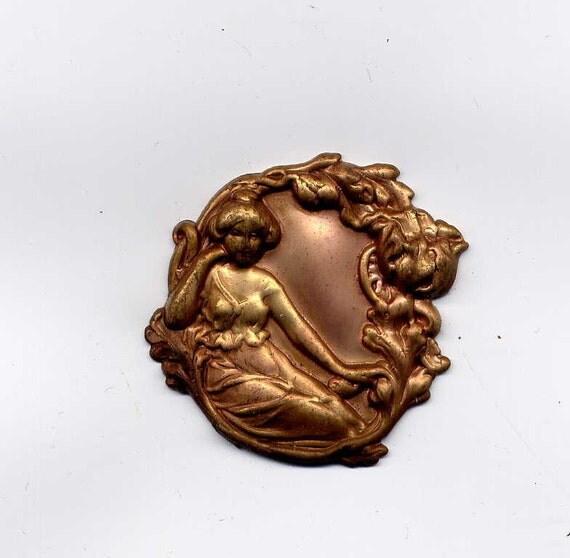 Art Nouveau Reclining Woman Brass Metal Stamping
