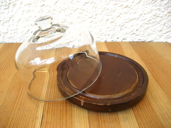 Vintage Wooden Cheese Plate with Glass Dome // 1970s