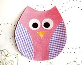 Iron On Fabric Applique - Owl Purple wings