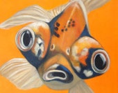 Goldfish Magnet - Koi - Big Eyed Animal Art - Stocking Stuffer- Proceeds Benefit Animal Charity