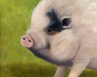 Potbellied Pig Print - Teacup Pig- Miniature Pig -Pot Belly Pig  - 8 x 8 Matted  - 10% Benefits Animal Charities