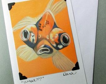 Goldfish Card - Funny Animal Art Card and Postcard - Google Eye Japanese Goldfish - 10% Benefits Animal Rescue