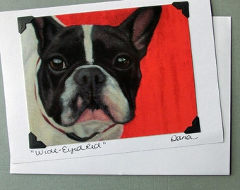 French Bulldog Card - Black and White Frenchie Card - Dog Card - Dog Art - Frenchie Art - French Bull Dog -  10% Benefits Animal Rescue