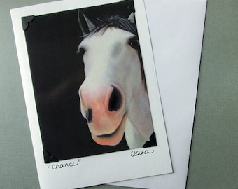 Horse Card - Sanctuary One Horse Card & Postcard - Grey Rescue Horse - Equine Art Card - 10% Benefits Animal Rescue