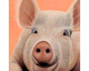 Pig Magnet - Big Pig Art - Funny Animal Magnet - 10%  Benefits Animal Charity