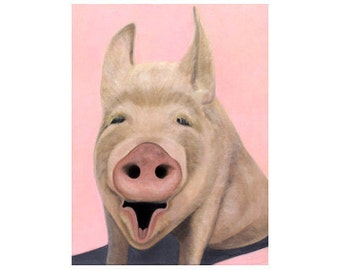 Pig Print  - Pig Art - Pink Pig Print - Laughing Pig Print - 10% Benefits Animal Charities