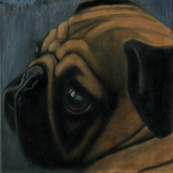Fawn Pug Painting -  Original Oil 24 x 24 Gallery Wrapped Canvas  - Proceeds Benefits Animal Charities - Sale
