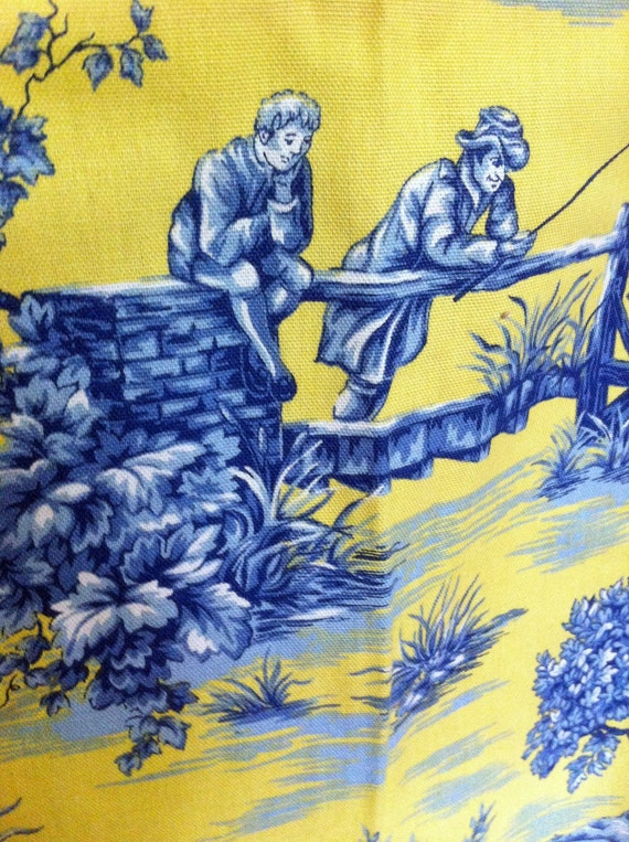 Etsyusername12345 toile blue and yellow fabric french country life