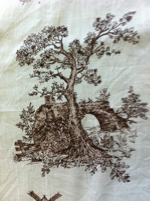 Toile Brown and White Pastoral Life Cotton