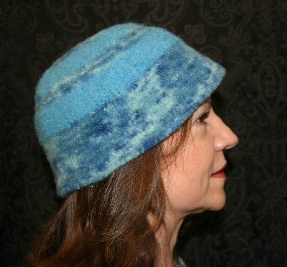 Handmade hand knitted and hand felted multi-colored blue hat