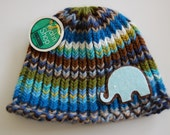 Modern Striped Elephant Hat 0-6 Months