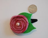 Rolled Fabric Flower on Snap Clip