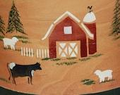 Handpainted Farm Scene Shaker Box  Cows Barn Sheep