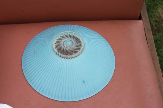 Stunning Art Deco  Vintage Frosted Sky Blue Glass Ceiling Light Shade