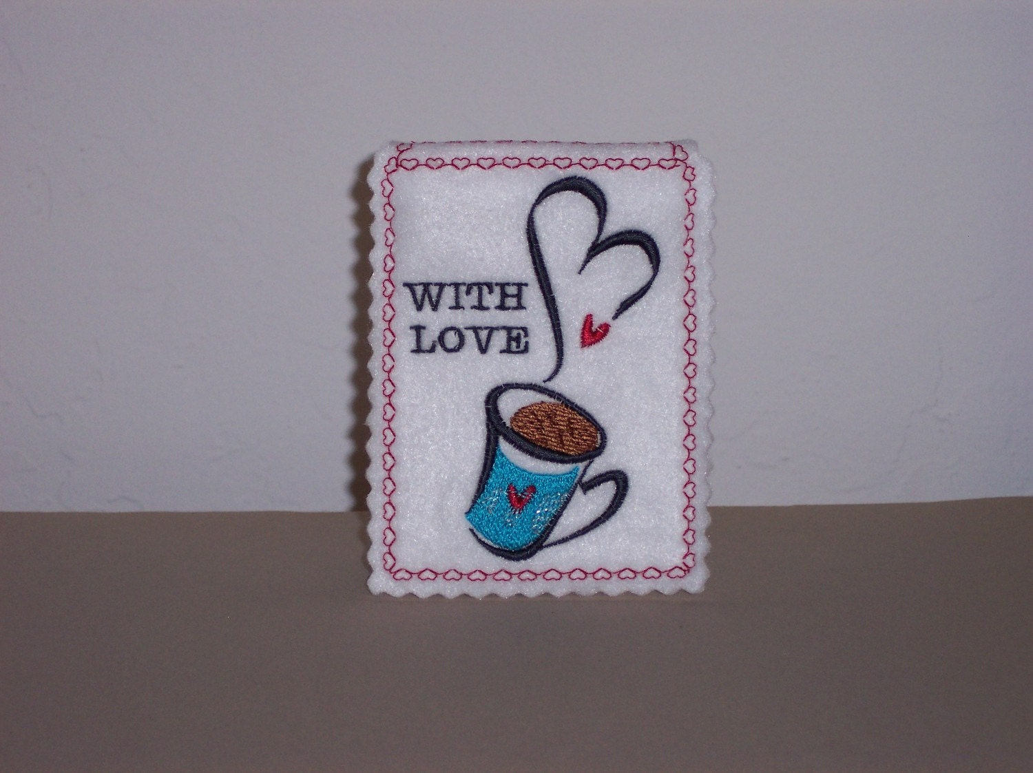 Valentine gift card holder embroidered cup of coffee and