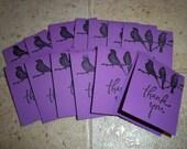 Purple Bird Thank Yous - Set of 13