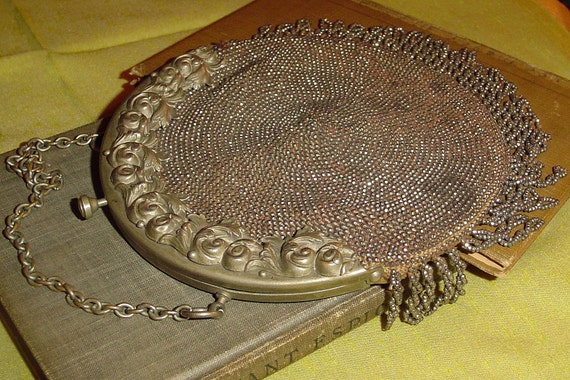 Blow out sale Antique Victorian steel cut beaded purse or handbag with fringe, needs repair