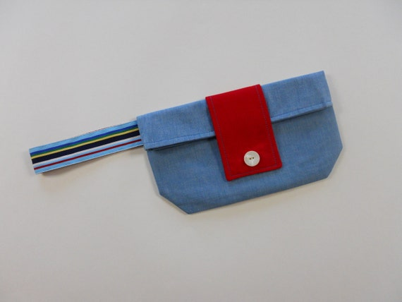 Turquoise and Red Chic Foldover Wristlet Clutch SALE