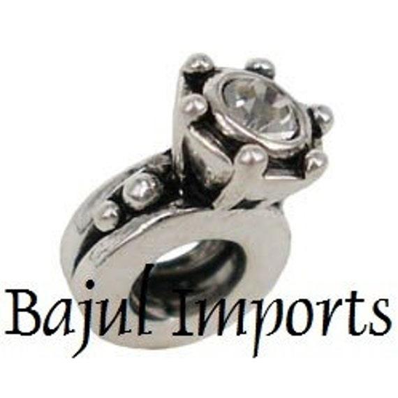 european charm bead wedding engagement ring fits pandora. Black Bedroom Furniture Sets. Home Design Ideas