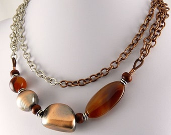 Copper and Agate Chunky Statement Necklace. 4 LOOKS in ONE.