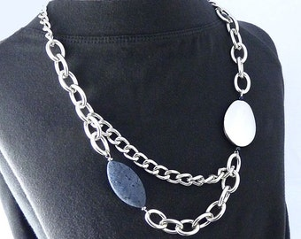 Long Chain Statement Necklace with Denim Blue Coral
