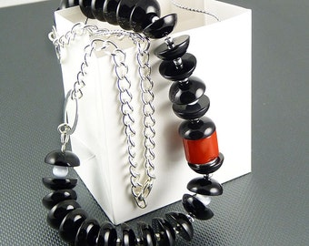 Black Swan chalcedony and red coral necklace