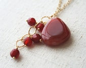 Red Necklace, Asymmetrical Necklace, Gold Jewelry
